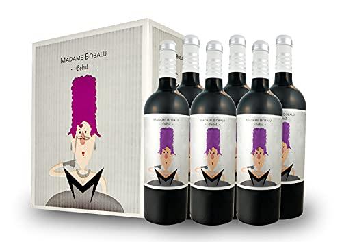 BODEGAS Y VIÑEDOS VOLVER | Vino Tinto Madame Bobalu | Pack de 6 Botellas | Cosecha 2019 | Variedad Bobal | Vino de Valencia | Crianza de 6 Meses | Barrica Francesa |(6 Botellas de 750 ml)