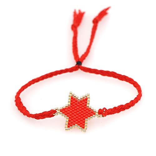 N/A Pulsera Pulsera de Hilo Rojo, Pulsera de Moda, joyería de Estrella Hecha a Mano, joyería Trenzada, Pulseras Tejidas de la Amistad Regalo de cumpleaños de Navidad