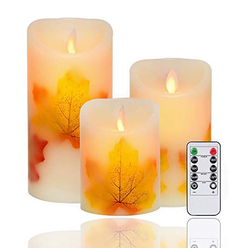 AVEKI LED Maple Leaf Candle Lights, 3 Pack Warm White Flameless Battery Operated Electric LED Moving Wick Flickering Candle Lights with Remote Control Timer for Decoration, Wedding (Maple Leaf)