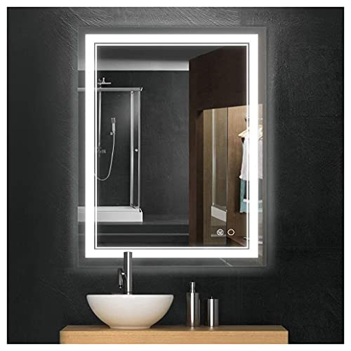 Keonjinn 36 x 28 Inch LED Mirror Bathroom Vanity Wall Mounted Mirror,Anti-Fog Makeup Dimmable Light with Touch Switch 6000K (Horizontal/Vertical)