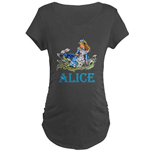 CafePress Alice in Wonderland Blue Maternity Dark T Shirt Cotton Maternity T-Shirt, Side Ruched Scoop Neck