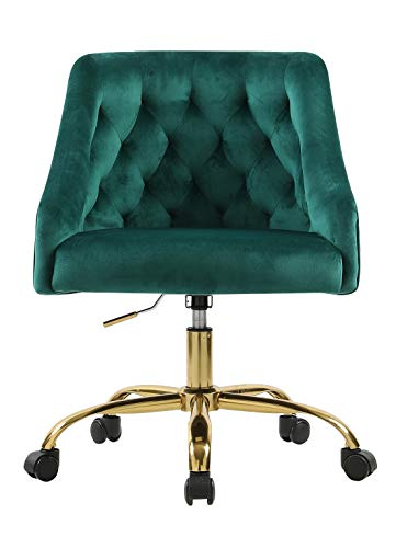 Velvet Fabric Swivel Task Chair for Home Office Ergonomic Comfortable Chair - Green with Dirt-Proof M-6030S