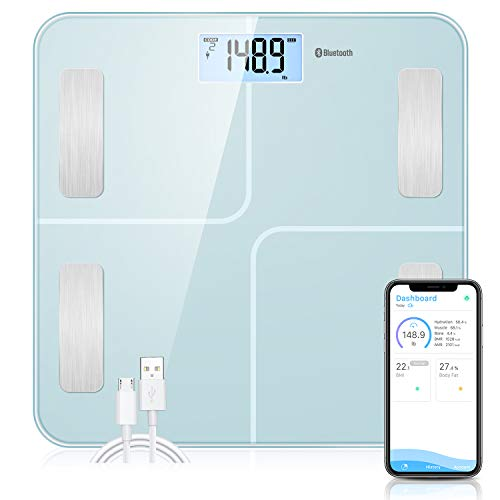 SOKOA Smart Digital Scales For Body Weight Bluetooth Body Composition Scales With USB Charger Bathroom Body Composition Monitor With IOS and Android App