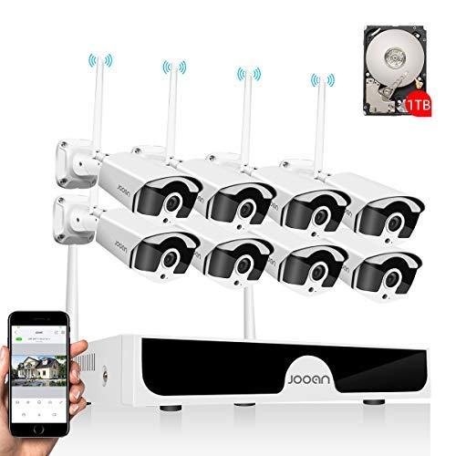 JOOAN 3mp Security Camera System Wireless,8-Channel NVR&8pcs 1296P Bullet Cameras, Weatherproof&Good Night Vision,Motion Alert with 1TB Hard Disk(Powered by Adpaters)