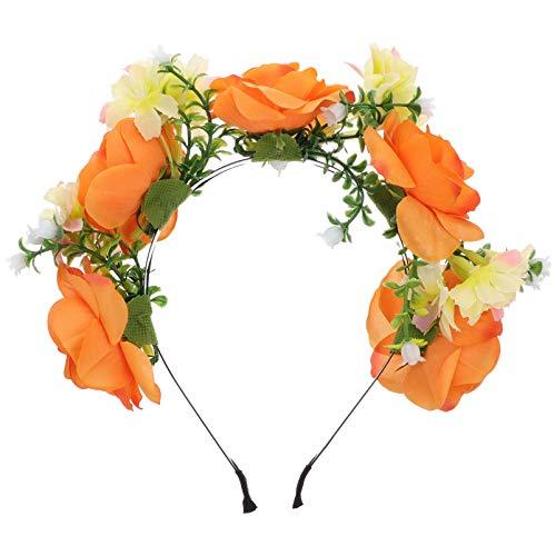 VALICLUD Diadema Floral para Mujer Corona de Flores Mexicanas Guirnalda de Rosas Artificiales Festivales de Boda Accesorios para Fotos