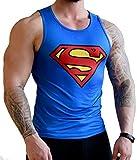 Khroom Débardeur de sport fonctionnel pour homme Coupe ajustée Pour sport fitness gym musculation L Superman bleu marine.