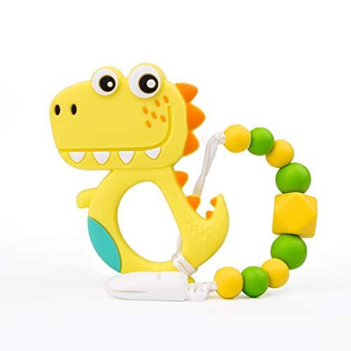 Baby Beißspielzeug, Dinosaurier Beißring Schmerzmittel Spielzeug mit Schnuller Clip Halter Set für Neugeborene, Gefrierschrank Safe Neutral Dusche Geschenk (Gelb)