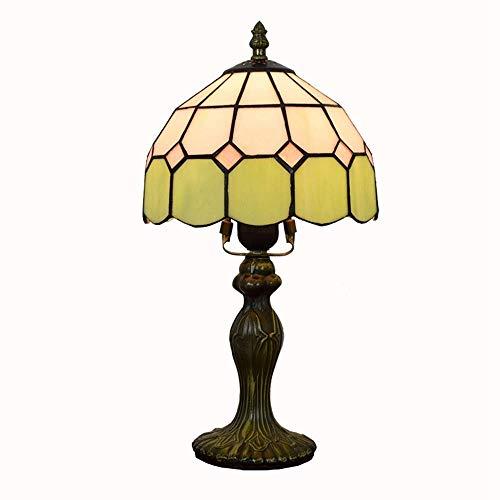 LHQ-HQ Europa mediterránea creativa verde Pastoral Vida sencilla de habitaciones Restaurante Bar de noche Dormitorio luz lámpara de mesa de noche (7' Ancho 14' Altura) cubierta Tiffany Lámparas de mes