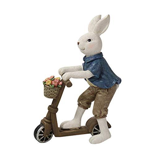 6Wcveuebuc Décoration de jardin miniature en résine représentant un couple de lapins sur le printemps, Pâques, décoration de jardin