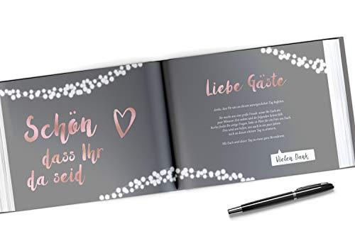Gästebuch mit Fragen | grau, roségold - 5