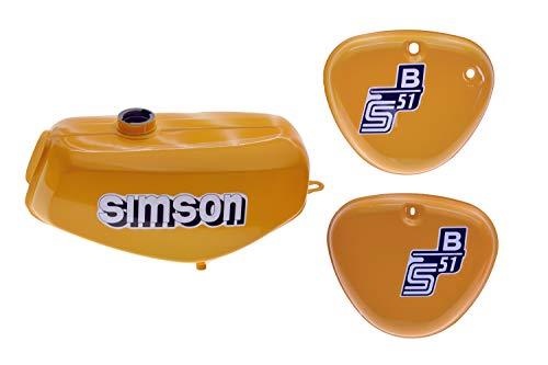 Tank Set mit Seitendeckel S51 S70 Saharabraun versiegelt mit Aufkleber Simson