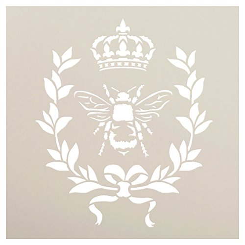 French Bee Stencil by StudioR12 | Crown, Laurel Wreath, Bee, Shabby Chic Country - Reusable- Chalky Paint- Use for Furniture Wood Signs Pillows Fabric Home Wall Decor | Select Size (9' x 9')