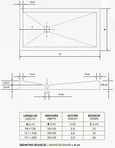 Plato de Ducha Resina Sintextone Mod. Pacifico 80 cm Ancho (80×80, Blanco Ral 9003)