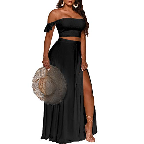Women's Sexy Tube Off Shoulder Floral Printed Side Slit Two-Piece Maxi Floral Dress Black Solid L