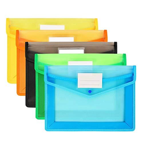 Cartera de plástico A4 Carpeta transparente, Carpeta impermeable documentos con Botón Pulsador Carpeta Tipo Sobre,para oficina, hogar, escuela y viajes