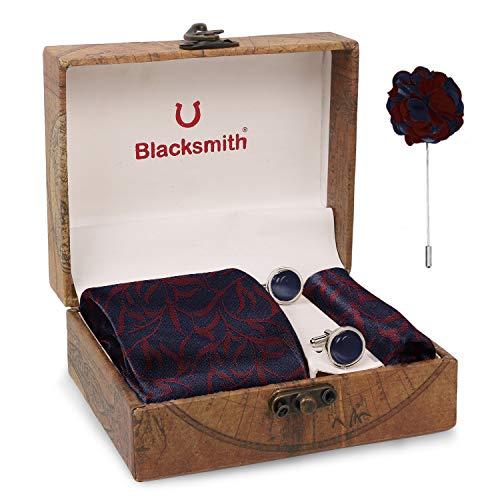Blacksmith Tie , Cufflink , Pocket Square , Lapel Pin , Set of 4 for Men [ Free Size ]