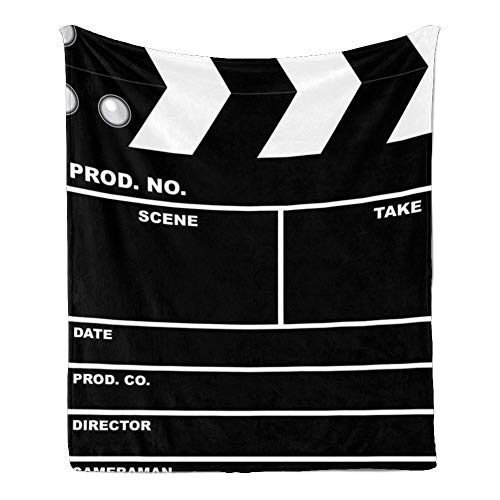 CUXWEOT Custom Super Soft Throw Blanket Fleece Blanket for Couch Sofa Bed Gift Movie Clapboard (50inchX60inch)
