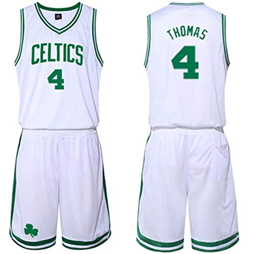 Zxwzzz Basket NBA Abbigliamento Suit Maschio Celtics Jersey, Thomas N ° 4, N ° 5 Kevin Garnett, Rondo No. 9, No. 20 Ray Allen, Pierce, 34, Bianco (Color : White 4, Size : 4X-Large)