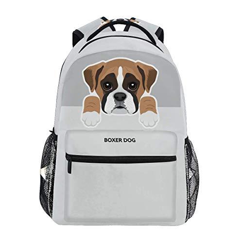 Mochilas con patrón de perro para niñas, niños, mujeres, hombres, boxeador de perro, escuela, bolsa de viaje, mochila de camping