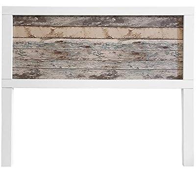 Materiales: Madera macuza de pini insigni, tablero de MDF y papel pintado imitacion a maderqa vintage Medidas:145x120x3 (Ancho,alto,grueso) Acabado: Blanco nordico. Colores papel pintado: Madera vintage clara y madera vintage oscura.