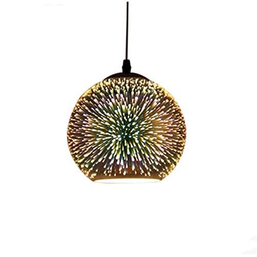 XUEE LED hanglamp, 3D gekleurde glazen bol vuurwerk effect licht voor keukeneiland, bar of eetkamer kunst afzonderlijke hoofdlampen