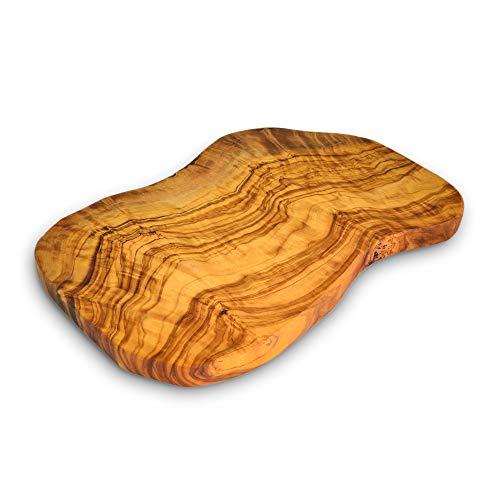 Olivenholz Rustikales Schneidebrett | 30 x 15 cm Geeignet zum Schneiden und Servieren | Wendebare große Flächen zum Schneiden von Fleisch, Gemüse, Käse, Brot | handgefertigtes Geschenk