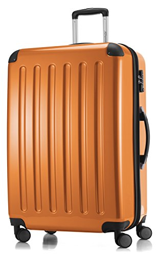 HAUPTSTADTKOFFER - Alex - 4 Doppel-Rollen Großer Hartschalen-Koffer Koffer Trolley Rollkoffer Reisekoffer, TSA, 75 cm, 119 Liter, Orange