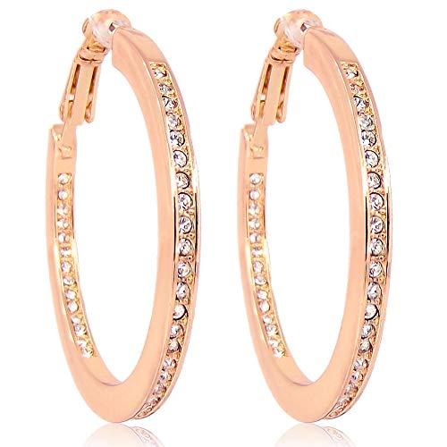 Creolen Rosegold Ohrringe mit Kristallen von Swarovski® Mittelgroß NOBEL SCHMUCK