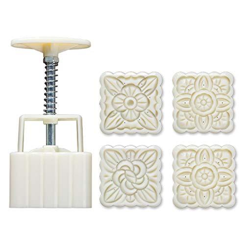 zhichy 4 sellos cuadrados de 100 g, para decoración de pasteles de luna, molde de pastel de luna, molde de fondant de chocolate, moldes para decoración de pasteles