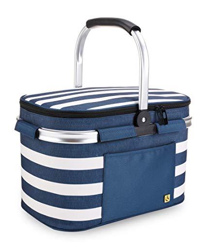 ALLCAMP OUTDOOR GEAR Picnic Baskets 22L Blue White Stripe