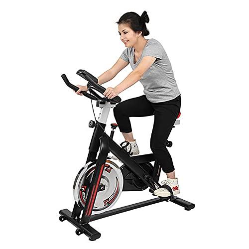 WEUN Bicicleta estática de interior para bicicleta estática para entrenamiento cardiovascular en casa, correa de transmisión con asiento ajustable y soporte para manillar de tableta