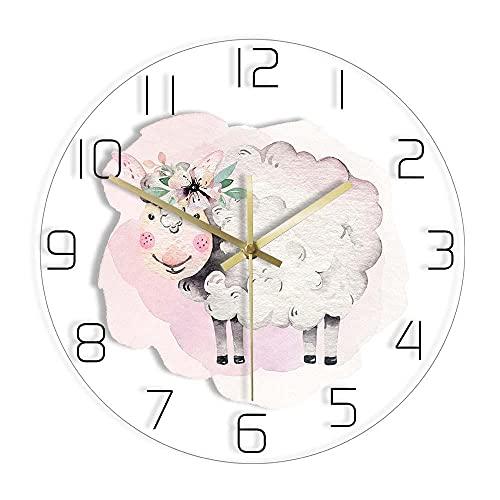 농장 동물 양을 인쇄된 벽 시계 아이 방의 보육의 장식 수채화 털이 양을 현대적인 디자인 아크릴 벽 시계-WITHOUT_LED