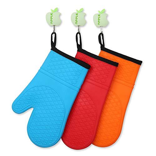Blankspace Guantes de silicona de algodón guantes de silicona de microondas guantes de aislamiento de doble capa guantes de horno