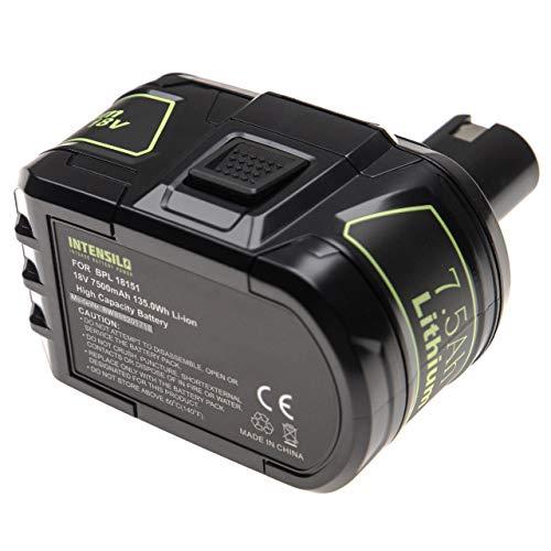INTENSILO Batería reemplaza Ryobi BPP-1817M, BPP-1820, P102, P103, P104, P105, P106, P107, P108 para herramientas eléctricas (7500mAh Li-Ion 18V)