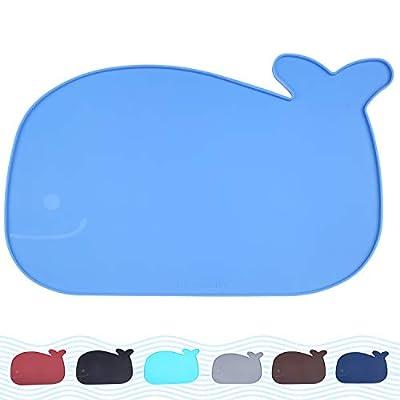 "Vivaglory Cat Bowl Mat, Large (23.6"" x 15.7"") Waterproof Dog Food Mat Placemat with Raised Edge, Blue"