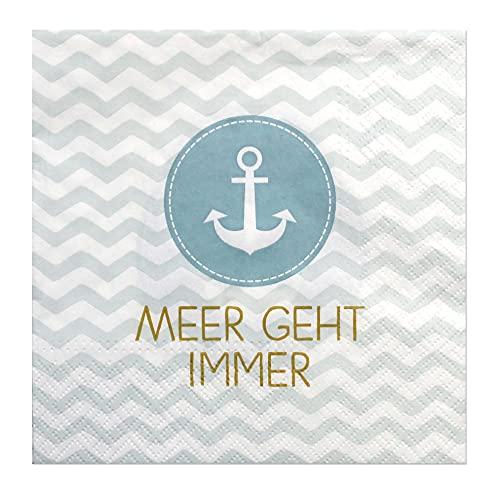 Hochwertige Papierservietten/Tafel-Servietten/Brunchservietten, Deko-Serviette, Motiv: Meer geht Immer. L/H 33 x 33 cm. Menge 40 Stück.