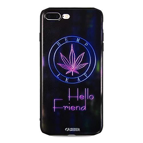 Fashion-Lover Carcasa para iPhone X 8 7 6S 6 Plus de silicona suave con diseño de hojas de planta para iPhone 5S 5 SE Capinha, hoja morada, para iPhone 8