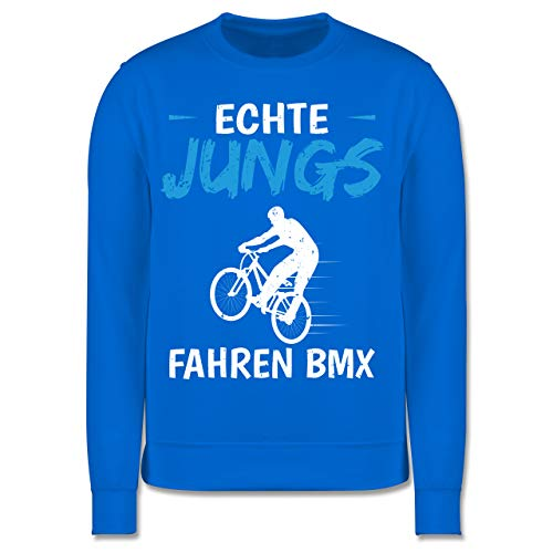 Sport Kind - Echte Jungs Fahren BMX - 140 (9/11 Jahre) - Himmelblau - Pullover 128 BMX - JH030K - Kinder Pullover