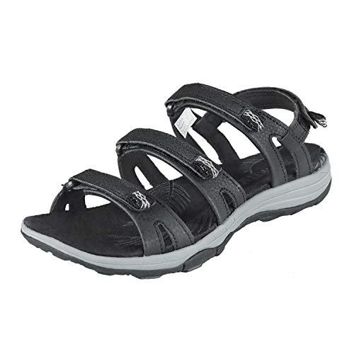 GRITION Sandalias de Senderismo para Deportes al Aire Libre para Mujer, Sandalias de Senderismo de Verano Planas y Abiertas, Zapatos para Caminar fáciles con Correa y Correa Ajustables Negro 36EU
