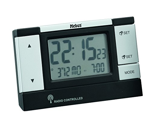 Mebus 51059 Wecker mit LCD-Display, schwarz, silberfarben