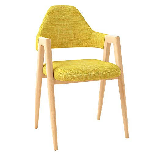 LJFYXZ Sillas de Comedor Mesa de comedor y sillón Respaldo curvo Apoyabrazos portátil Simplicidad moderna Diseño de hierro Usado para Restaurante, hotel, cafe (Color : Yellow)