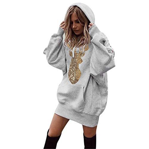 YBWZH Weihnachtspullover Damen Weihnachten kleidet Kapuzenpulli Pullover Mantel Sweatshirt Kleid Reindeer Druck Strickpullover Lose Kapuzenpullover mit Weihnachtsmotiven Weihnachtspullis