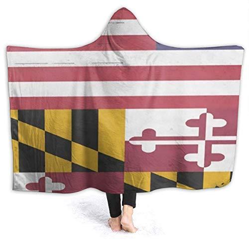 Bandera de Maryland Bandera estadounidense Manta con capucha para mujer Manta de franela súper suave Sudadera con capucha Bata con capucha para vestir Capa con capucha para ver televisión 60 'x 50'