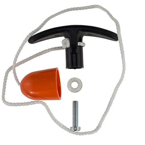 Ziehgriff Garagentor-Griff Innen 9mm PVC schwarz mit 50cm Seil und orangefarbener Glocke