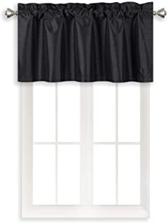 Home Queen Solid Rod Pocket Blackout Curtain Valance Window Treatment for Living Room, Short Straight Drape Valance, Set of 1, 37 X 18 Inch, Black