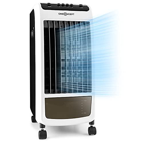 Oneconcept Caribbean Blue - Enfriador de aire portátil, Ventilador, Humidificador, 3 velocidades, Caudal de aire 400 m³/h, 70 W, Tanque 4 L, 2 recipientes hielo, Oscilación, 4 ruedas, Blanco humo