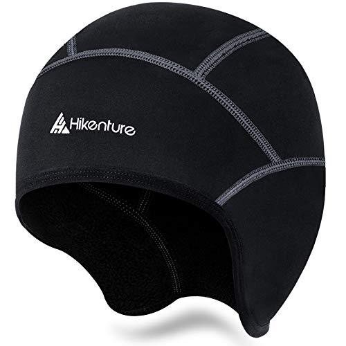 Hikenture Bonnet de vélo d'hiver chaud et coupe-vent – Bonnet confortable pour casque de vélo, casque de ski, vélo de course, VTT, casque de vélo léger avec ou sans trou pour lunettes de vue – Noir 1