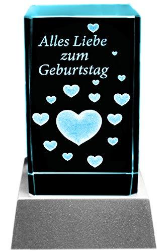 Kaltner Präsente Stimmungslicht - EIN ganz besonderes Geschenk: LED Kerze/Kristall Glasblock / 3D-Laser-Gravur Herzen Alles Liebe ZUM Geburtstag