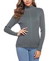 iClosam Women Sweater Turtleneck Knit Pullover Ribbed Mock Neck Sweater Dark Grey