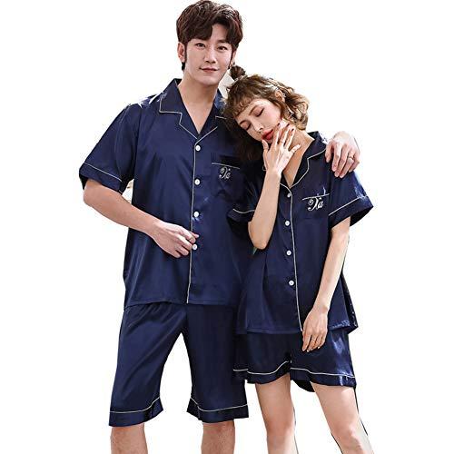 [CARLIE KLOSS] ペアパジャマ カップル 寝巻き シルク 結婚祝い プレゼント ギフト 夫婦 部屋着 上下セット 半袖 ルームウェア メンズ ブルー XL